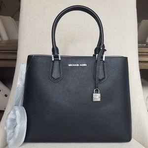NWT Michael Kors LG Adele Mercer Satchel Bag Black